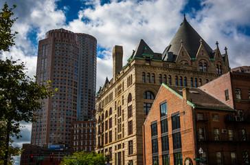 Diverse buildings in Boston, Massachusetts.