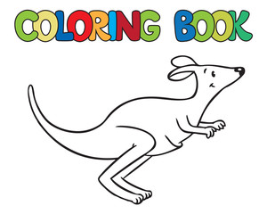 Coloring book of little funny kangaroo