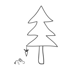 Hand drawn Tree with a rabbit and a hanging carrot