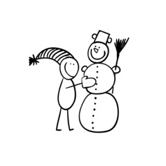 Hand line drawing of a figure making a snowman