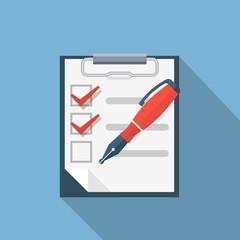Checklist and nib pen illustration