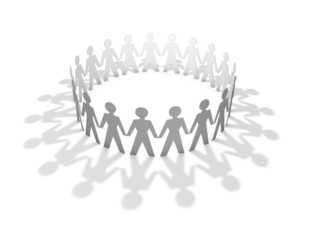 Three-dimensional team with people silhouettes
