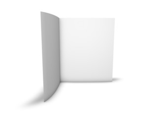 Blank two page brochure standing in vertical position