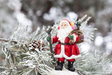 Toy Santa Claus on the fir tree branch