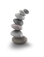 Pile of zen rocks isolated on white background, meditation idea.