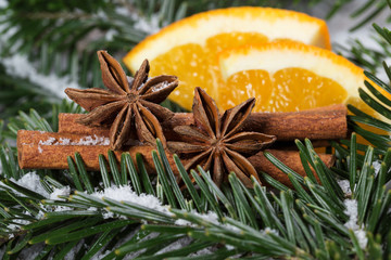 Christmas spices, cinnamon and star anise