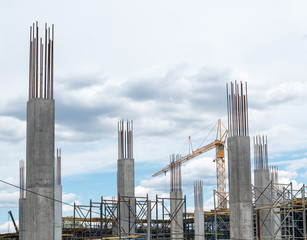 Reinforced concrete piles of the new building