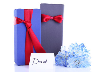 Two gift boxes with blue flower and card for Dad