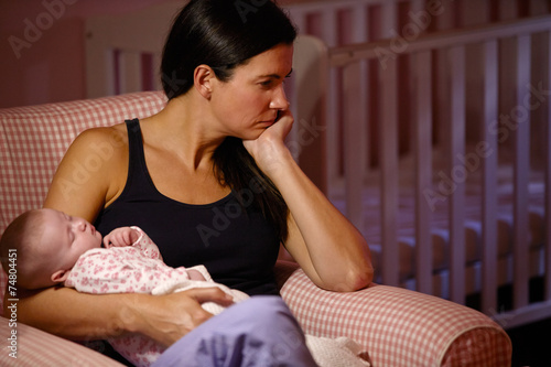 Leinwanddruck Bild Mother With Baby Suffering From Post Natal Depression