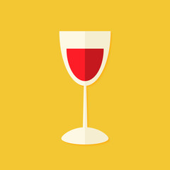 Glass of wine Christmas Flat Icon