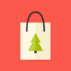 Shopping Pack with Christmas Tree Flat Icon