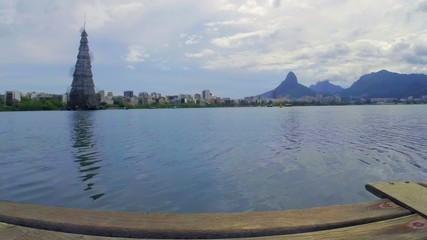 View of Lagoa Rodrigo de Freitas in Rio de Janeiro. Brazil