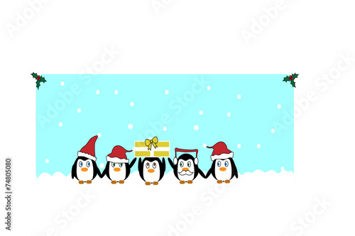 canvas print picture Christmas pinguins