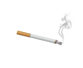 Cigarette with smoke  isolated on white background