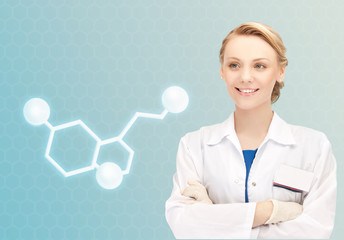 smiling female doctor with molecule of serotonin