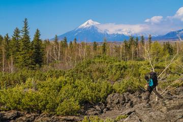 Tourist near Tolbachik volcano eruption 2013