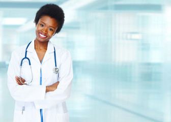 African-American black doctor woman.