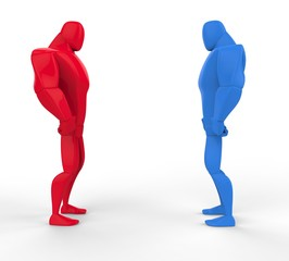 Red and blue 3D Strongmen in a stand off.