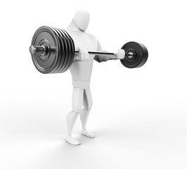 Strong 3D Character Weightlifting - side view.