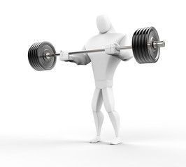 Strong 3D Character Weightlifting - lower view.