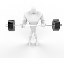 Strong 3D Character Weightlifting - top view.