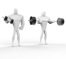 Two 3D Characters Weightlifting - isolated on white.
