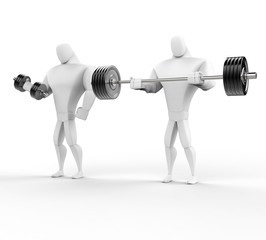 Two 3D Characters Weightlifting - isolated on white background.