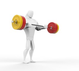 3D Strong Character doing barbell curls.