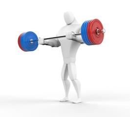 3D bodybuilder practicing barbell curls.