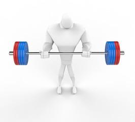 3D bodybuilder practicing standing barbell curls.