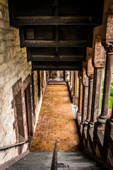 Looking down the stairs of an old cathedral in Boston, Massachus