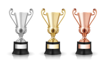 golden,silver and bronze trophies isolated on white background