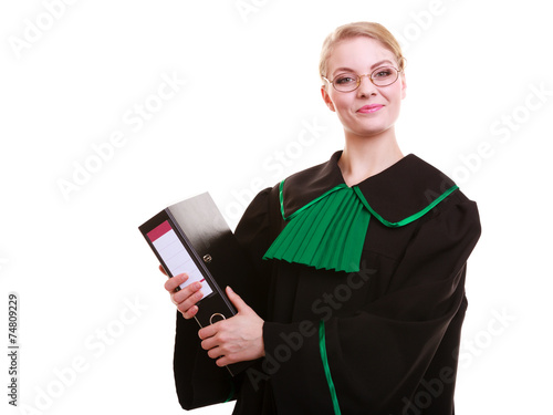 Female lawyer attorney wearing classic polish black green gown - 74809229