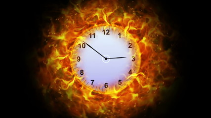 Fiery Clock Background, with Alpha Channel