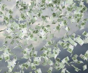 hundred dollar bills flying