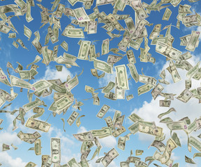 dollar banknote falling