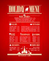 Holiday menu list, New Year.