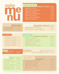 Modern menu list dishes.