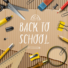 Welcome Back to school template with schools supplies on