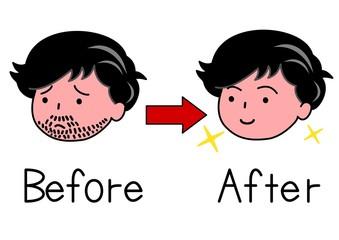 ひげの男性とひげを処理した男性
