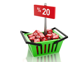3d Shopping basket with red cubes and 20 percent  on white backg
