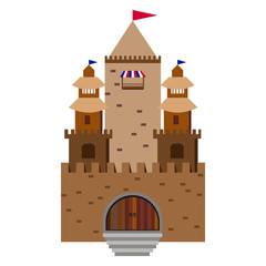 fairy tale castle on a background of hills in the circle
