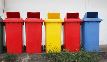 Colourful recycle bins