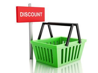 3d Shopping basket. online shop concept on white background