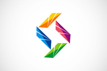 abstract shape colorful stripe logo vector