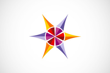 star abstract color geometry logo vector