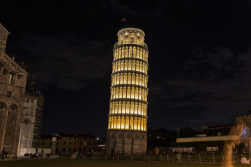 The leaning tower by night