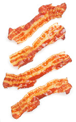 Slices of fried bacon