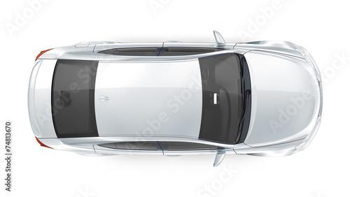 Luxury silver sedan - top view - 74813670