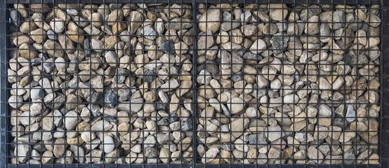 pebble stones in iron mesh